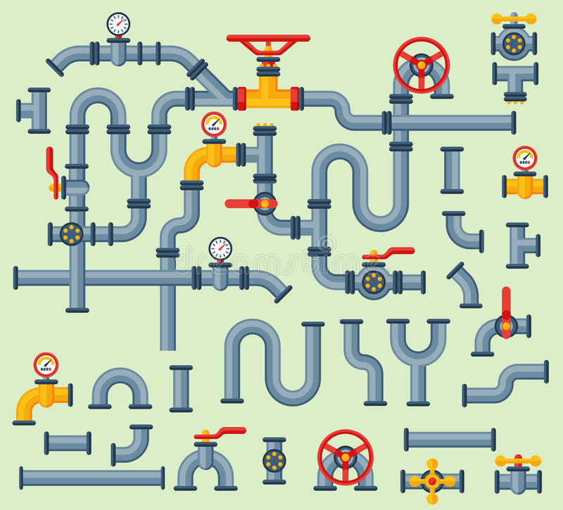 细节用管道输送水管产业排气阀建筑和油工业压力的不同的类型汇集 库存例证
