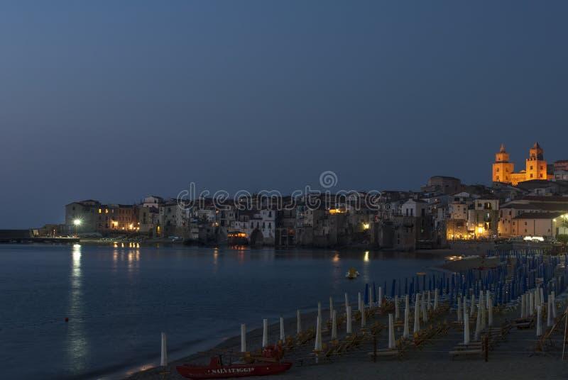 节略的夜cefalà ¹巴勒莫西西里岛意大利欧洲 库存照片