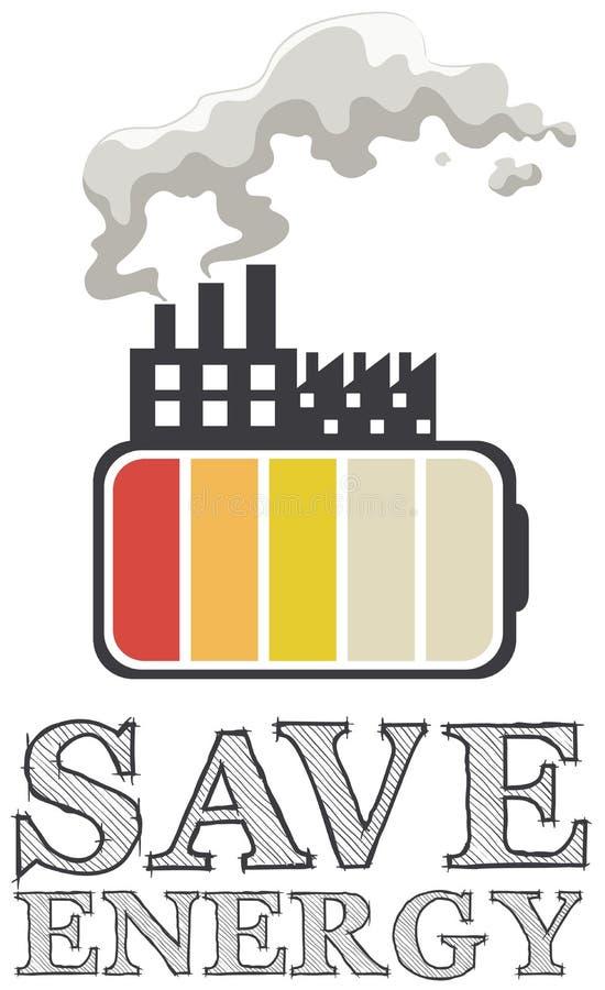 节省与电池和工厂的能量 库存例证