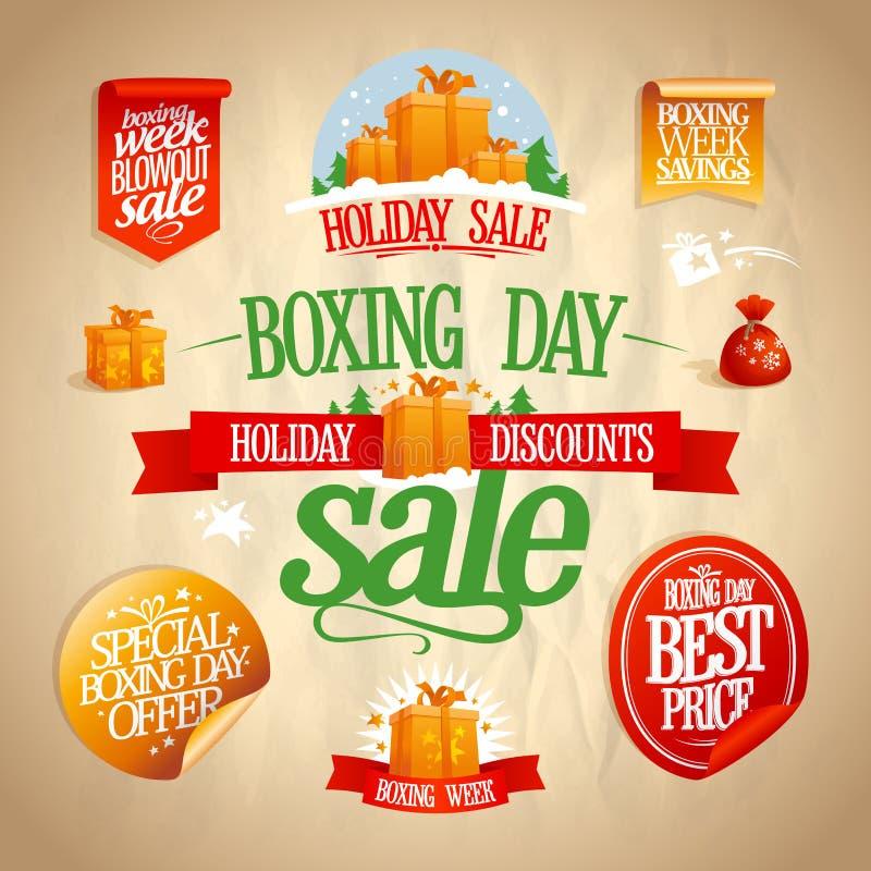 节礼日销售签字,设计、横幅、贴纸和优惠券 库存例证