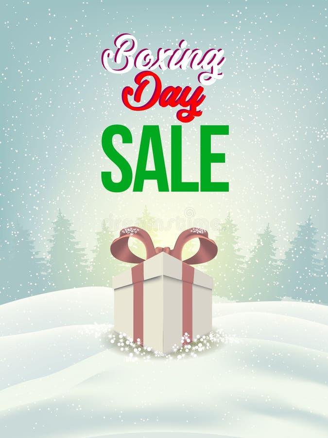 节礼日销售 圣诞节广告剪报面具箱子和eps 10 上色,蓝色、灰色、红色泡影和球 特别海报 向量例证