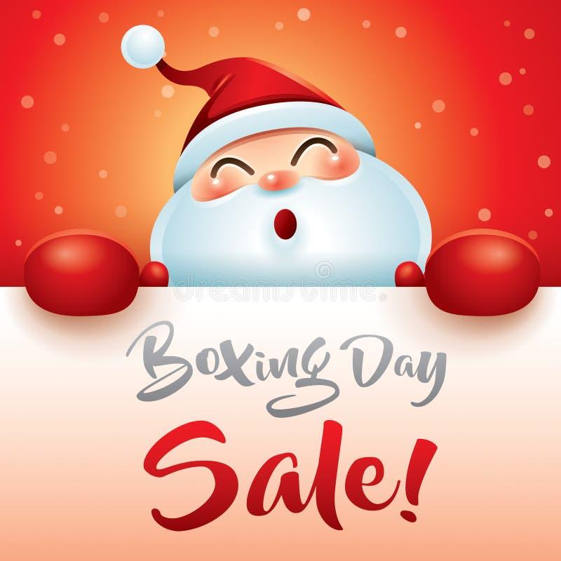 节礼日销售!有红色拳击手套的圣诞老人 库存例证