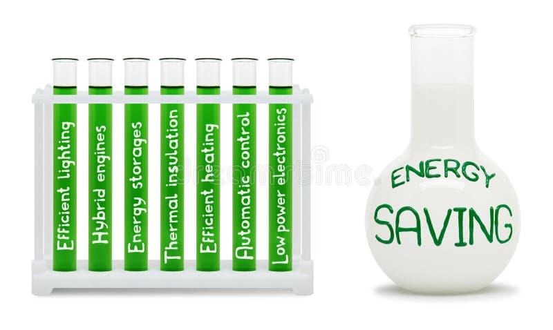 节能惯例。与绿色和白色烧瓶的概念。 免版税库存图片