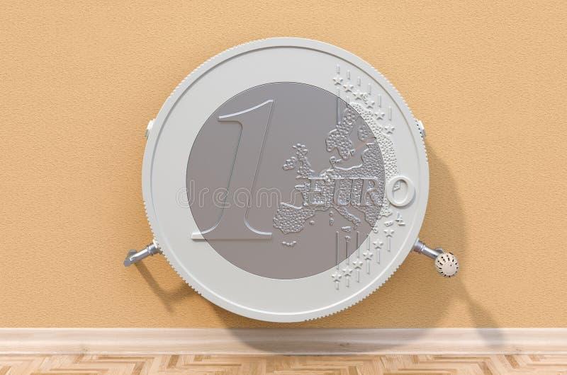 节能概念 在塑造的加热的幅射器欧元硬币 3d?? 皇族释放例证