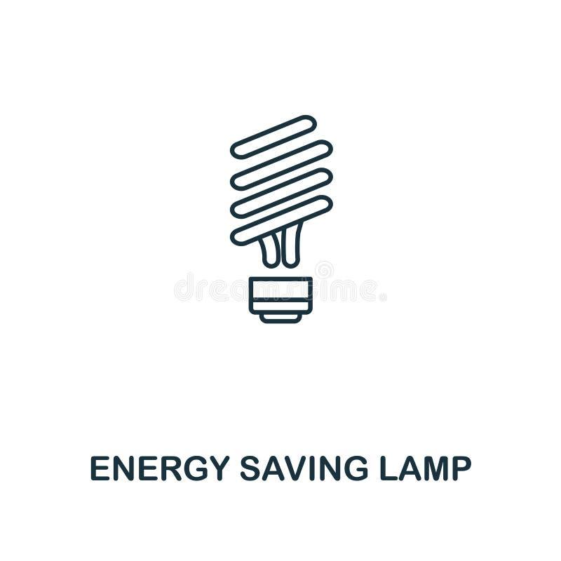 节能灯象概述样式 从力量和能量象汇集的优质图表设计 简单的稀薄的线元 e 皇族释放例证