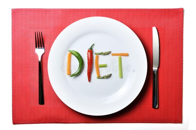 节食写与菜在健康营养概念 免版税图库摄影