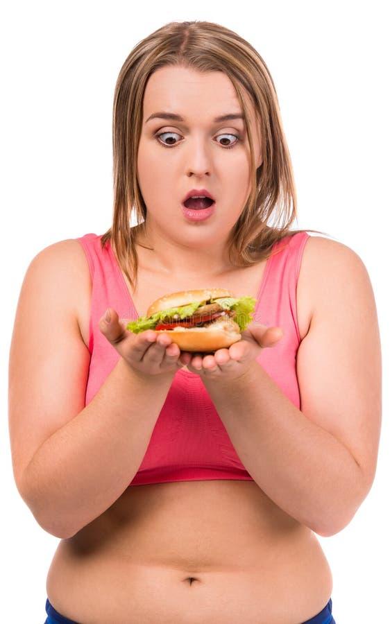 节食的肥胖妇女 库存照片