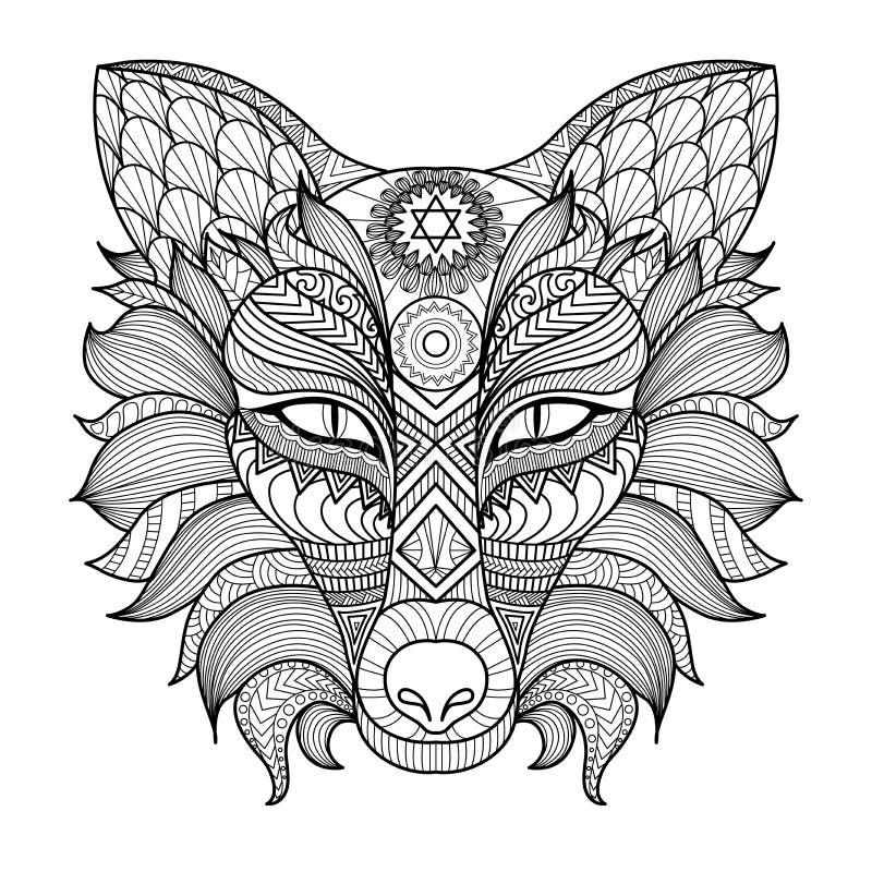 细节zentangle狐狸着色页 向量例证