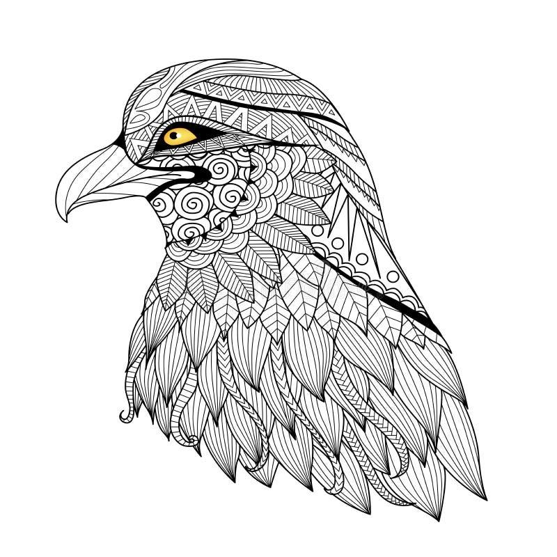 细节zentangle老鹰 向量例证