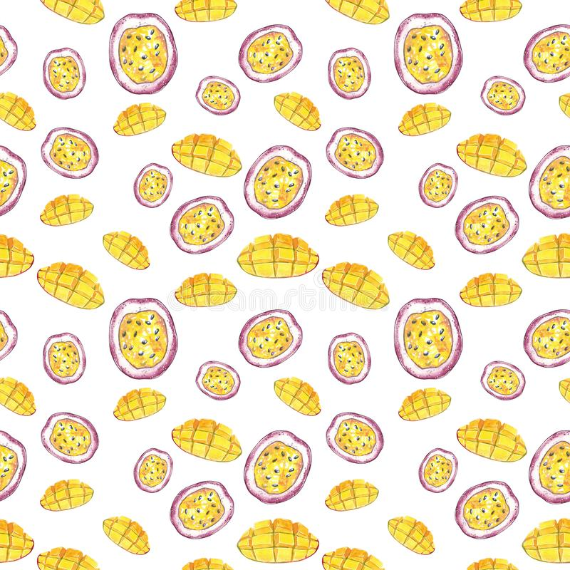 芒果和西番莲果切片无缝的样式,水彩例证 皇族释放例证