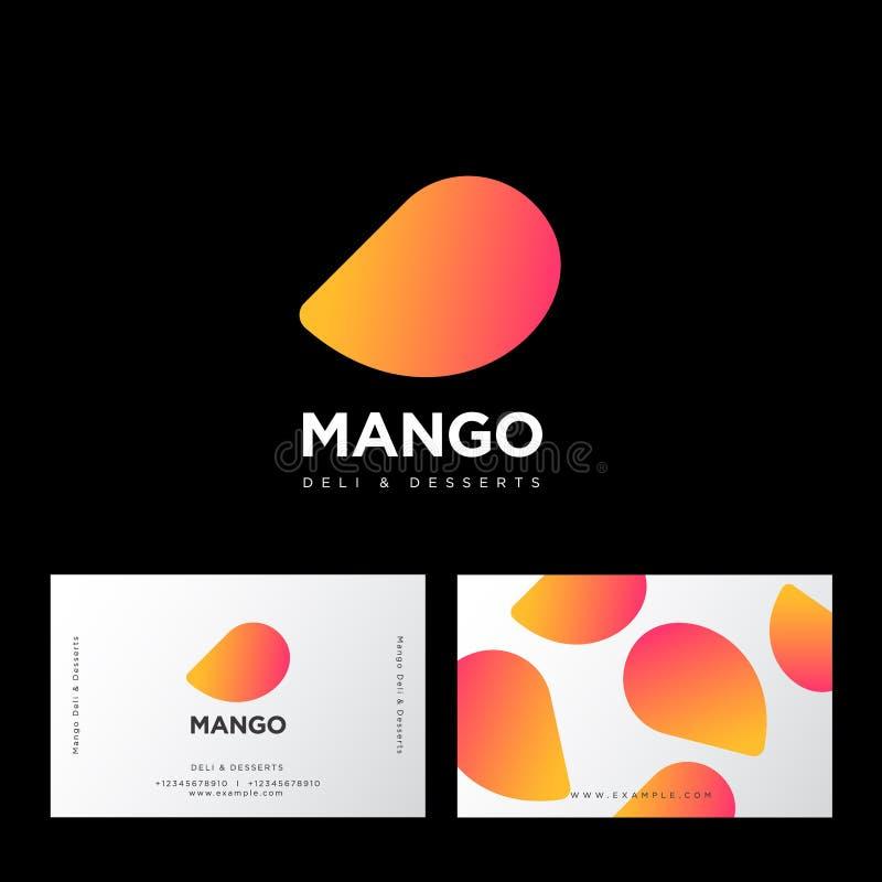 芒果商标 熟食店和点心甜咖啡馆 芒果和信件 甜点象征 向量例证