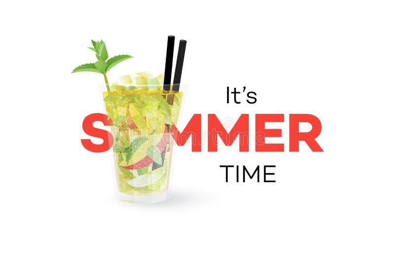 芒果在白色背景的Mojito Coctail 季节性夏天概念性横幅 容易的设计编辑要素导航 库存例证