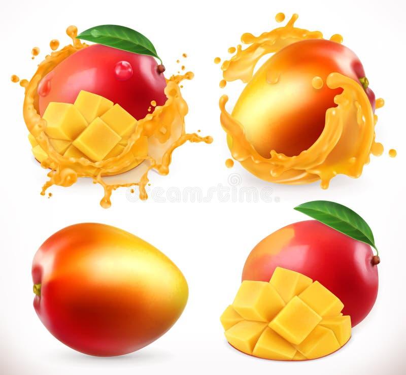 芒果汁 新鲜水果, 3d传染媒介象 向量例证