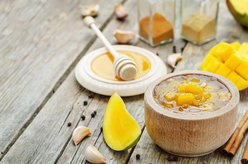 芒果酸辣调味品 库存照片