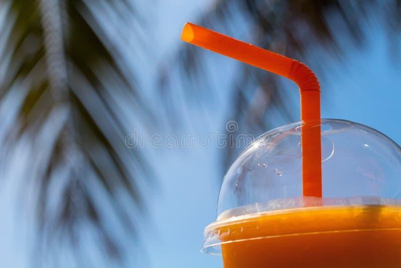 芒果震动和棕榈分支 在透明塑料杯子的黄色芒果汁 库存图片