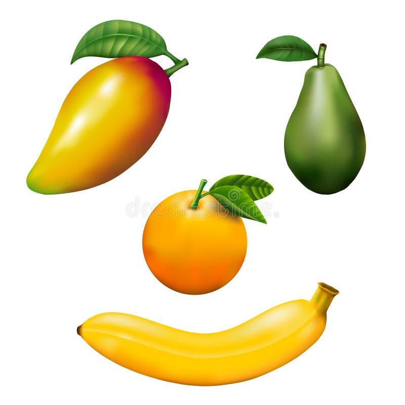 芒果,香蕉,鲕梨,桔子,在白色隔绝的果子与裁减路线 免版税库存图片