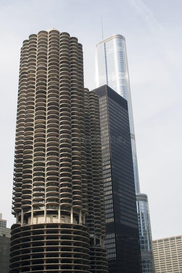 芝加哥三个摩天大楼 免版税图库摄影