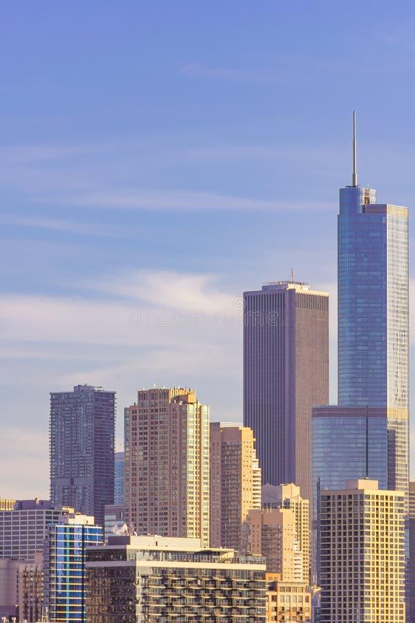 芝加哥与高现代摩天大楼的地平线场面 免版税库存照片