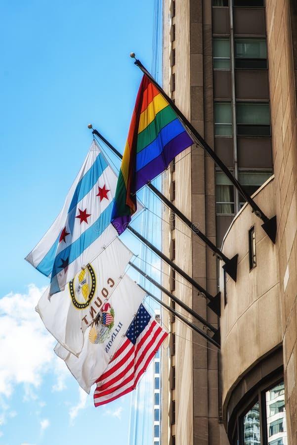 芝加哥和美国旗子 免版税图库摄影