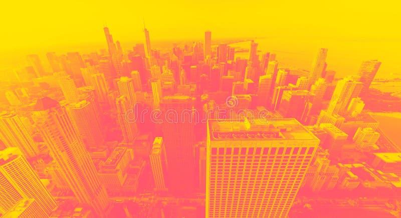 芝加哥在日落的都市风景地平线 库存照片