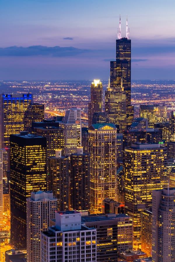 芝加哥地平线南部鸟瞰图  库存图片