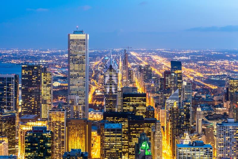 芝加哥地平线南部鸟瞰图  免版税图库摄影