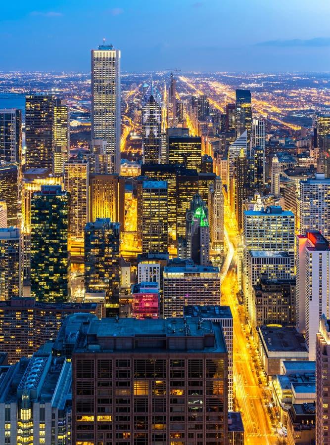 芝加哥地平线南部鸟瞰图  免版税库存照片
