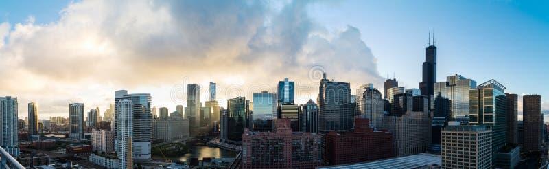 芝加哥地平线在早晨 免版税库存照片
