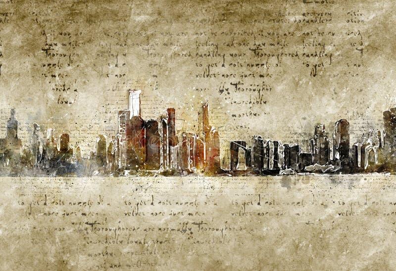 芝加哥地平线现代和抽象葡萄酒神色的 库存照片