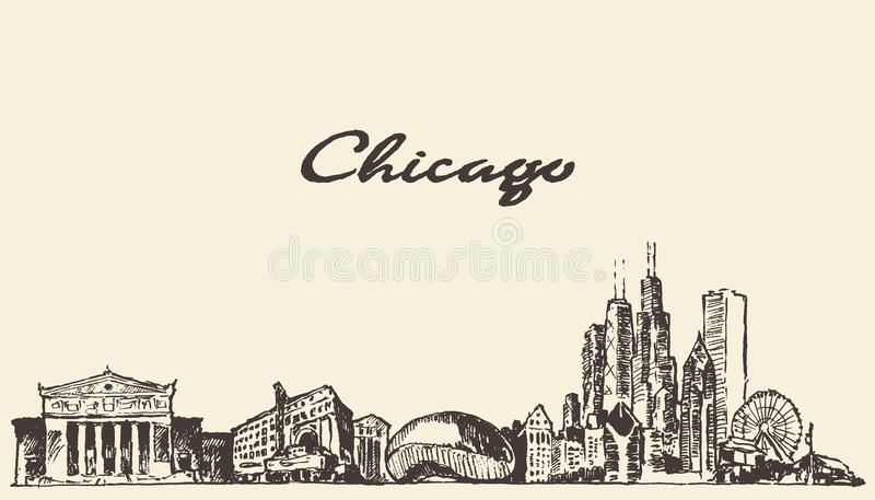 Download 芝加哥地平线葡萄酒例证被画的剪影 向量例证. 插画 包括有 剪影, 横向, 摩天大楼, 草图, 分级显示 - 72355172