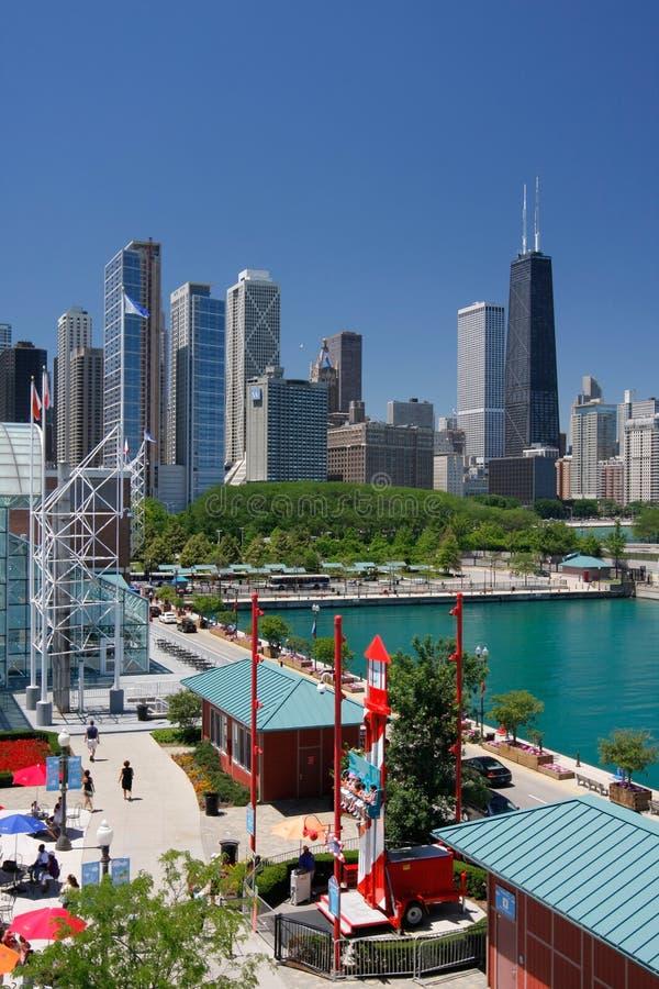 芝加哥壁角海军码头夏时 免版税库存照片