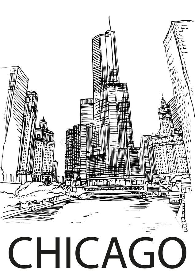 芝加哥市中心,伊利诺伊,美国 手凹道剪影 向量例证