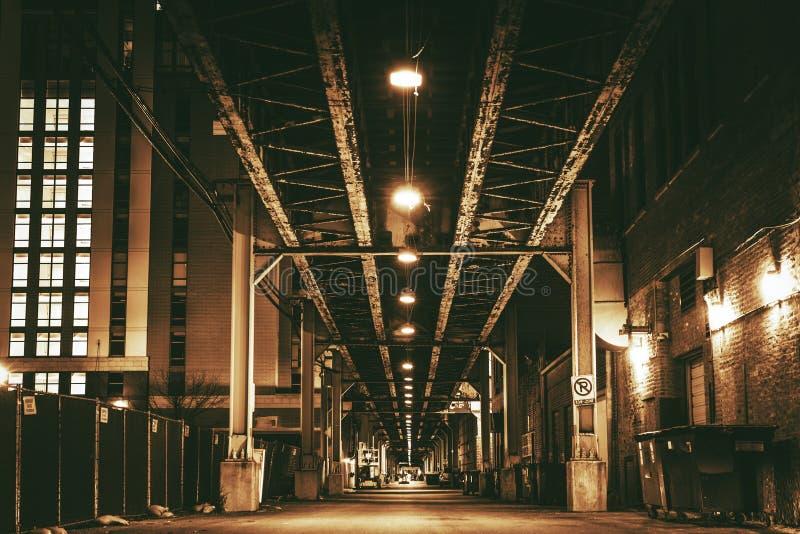 芝加哥市火车桥梁 图库摄影