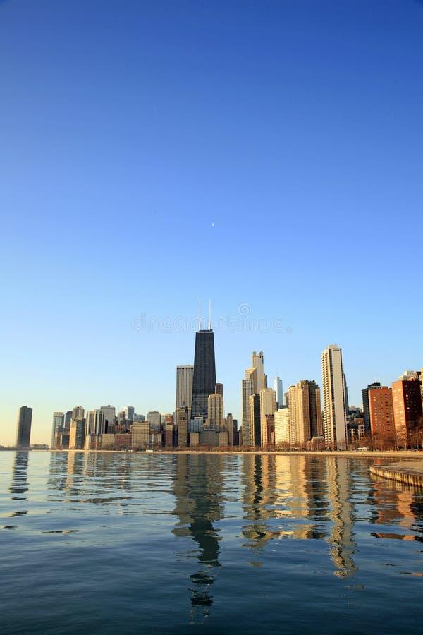 芝加哥市黎明地平线 库存图片
