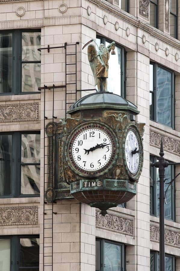 芝加哥时钟街道 免版税库存图片
