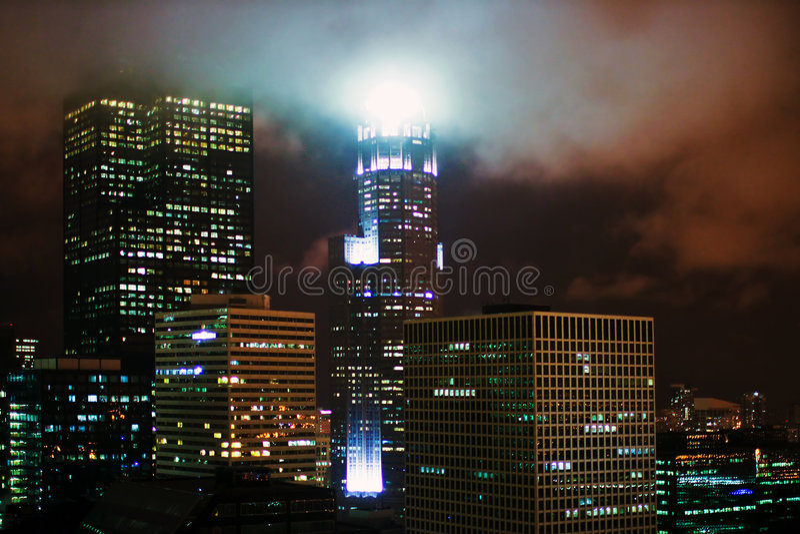 芝加哥晚上 库存图片
