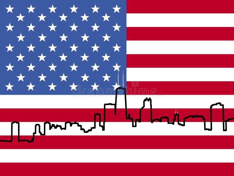 芝加哥标志地平线 库存例证