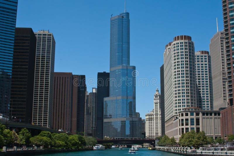 芝加哥河地平线 库存照片
