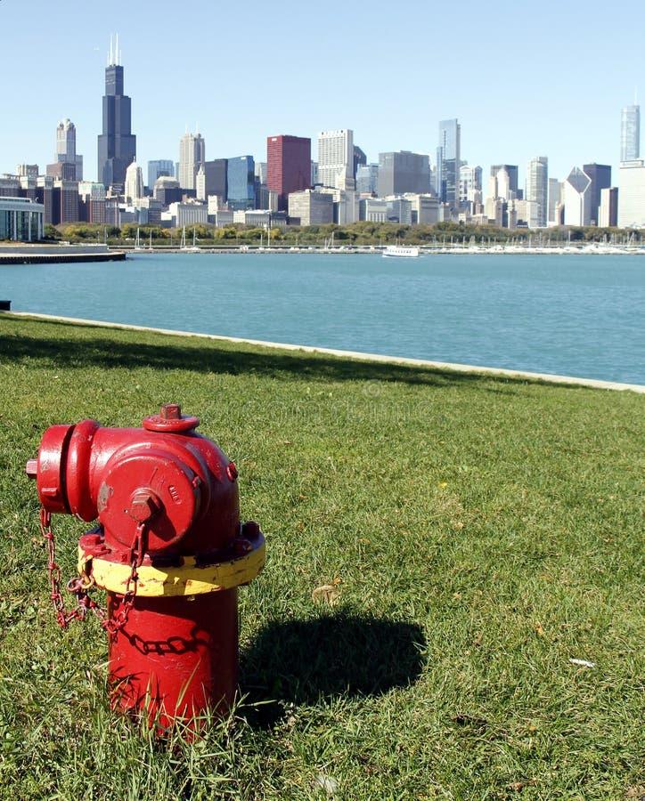 芝加哥消防龙头地平线 图库摄影