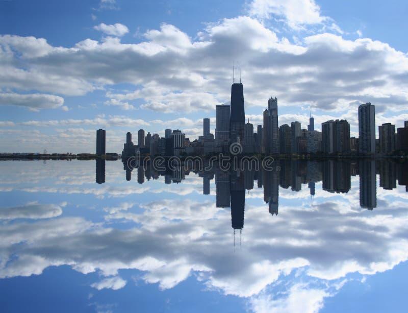 芝加哥湖被反射的地平线 免版税图库摄影