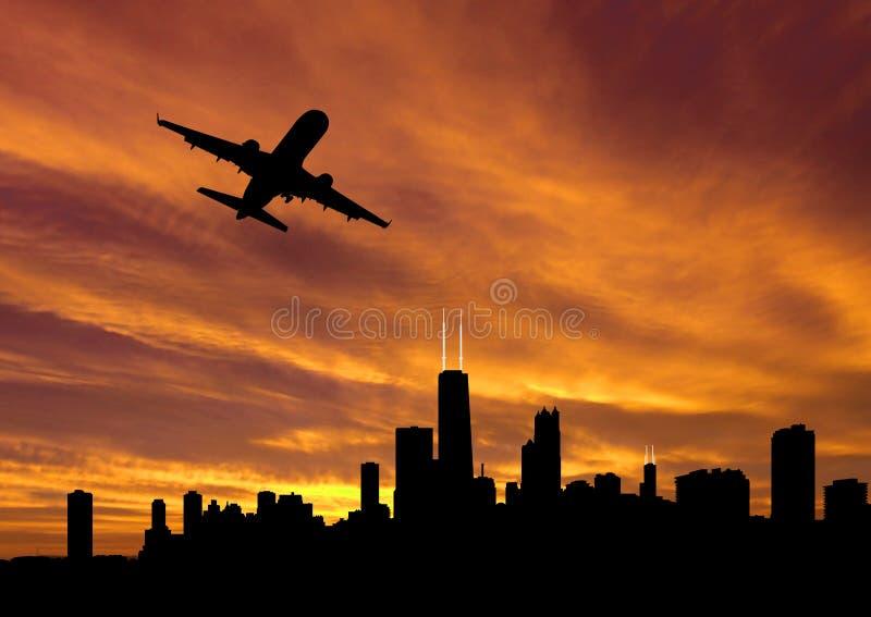 芝加哥离去的飞机 向量例证