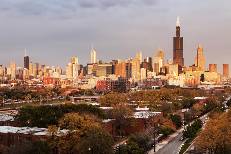 芝加哥秋天全景 库存图片