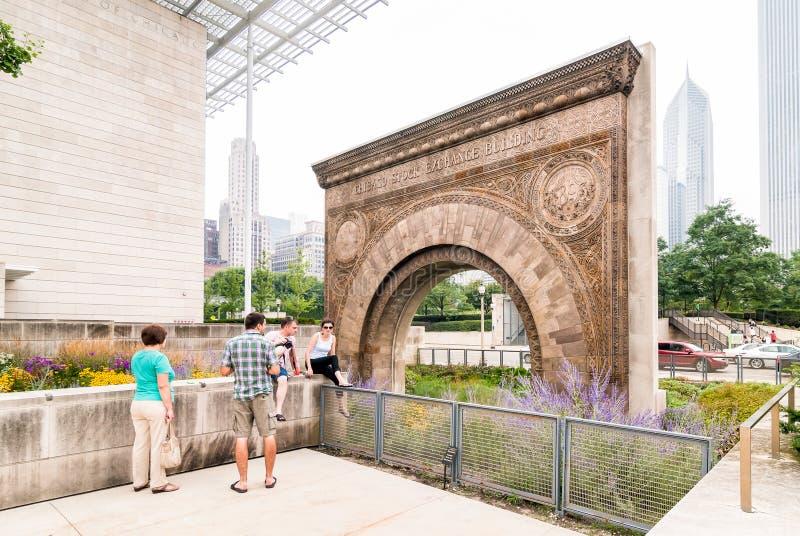 芝加哥联交所入口曲拱 免版税图库摄影