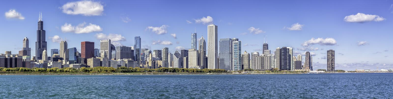 芝加哥街市全景 库存照片