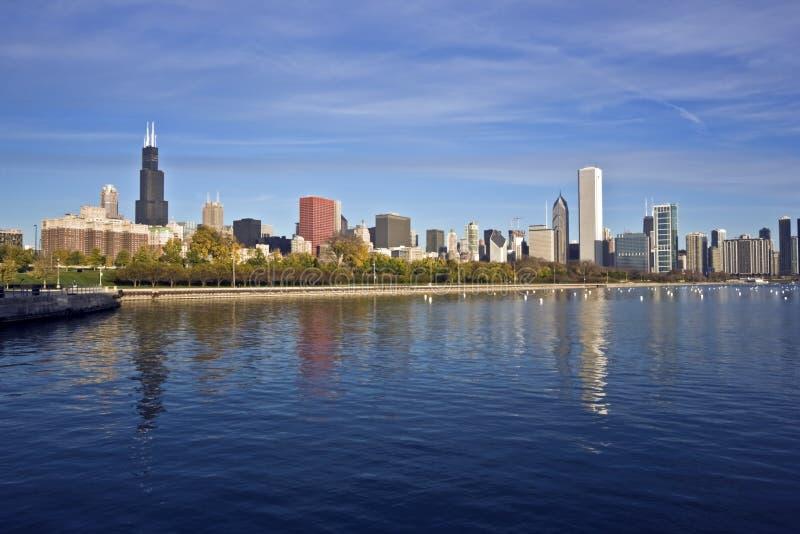 芝加哥街市全景 库存图片