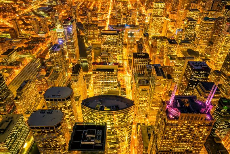 芝加哥街市地平线从顶视图的在美国 库存照片