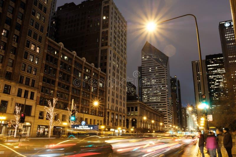 芝加哥街市地平线夜风景在千禧公园,芝加哥,伊利诺伊美国 库存照片