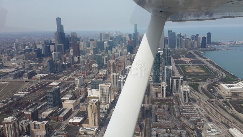 芝加哥街市摩天大楼空中大角度视图 成为不饱和的颜色foto 免版税库存图片