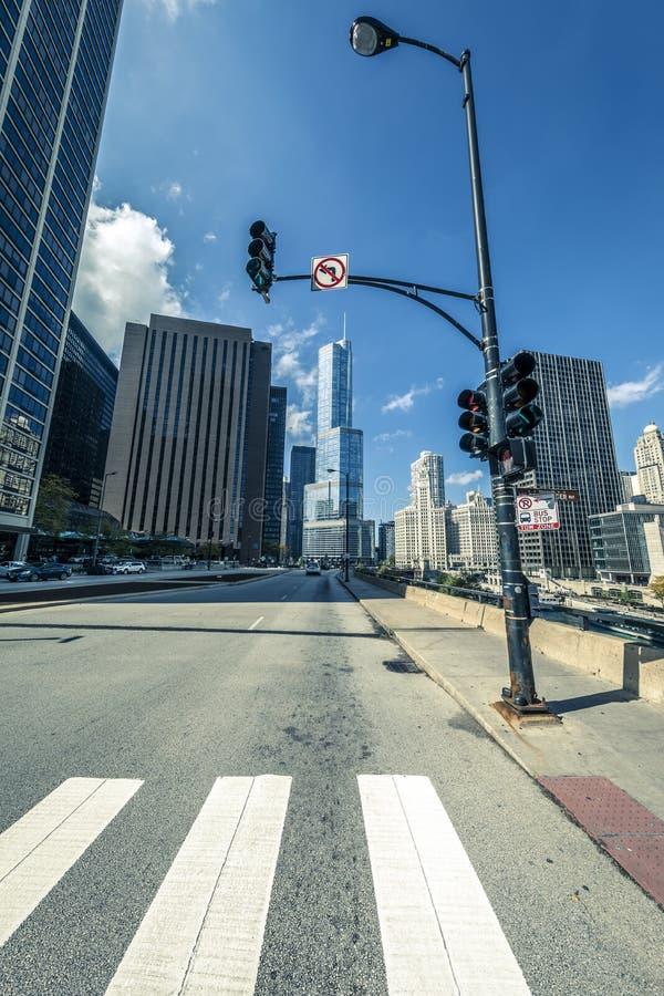 芝加哥街道在10月 免版税库存图片