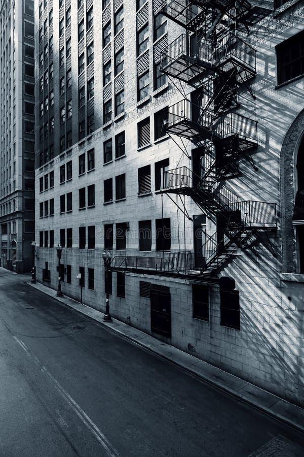 芝加哥街道黑白看法  免版税库存照片